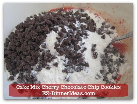 Cookie Recipe Using Cake Mix | Cake Mix Cherry Chocolate Chip Cookies - Add cake mix and chocolate chips.