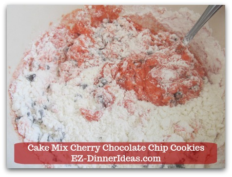 Cookie Recipe Using Cake Mix | Cake Mix Cherry Chocolate Chip Cookies - Mix until well combined.