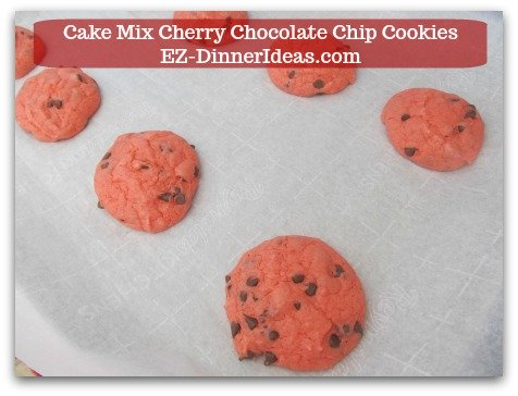 Cookie Recipe Using Cake Mix | Cake Mix Cherry Chocolate Chip Cookies - Bake at 350F for 10-12 minutes.