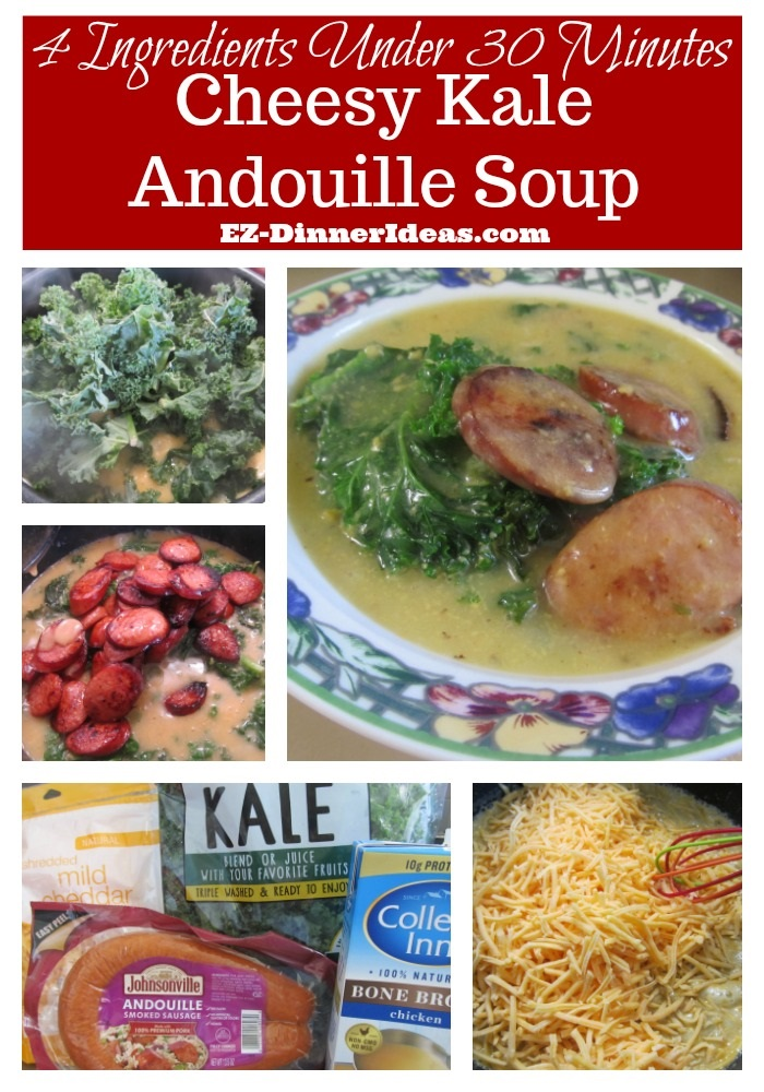 Cheesy Kale Andouille Soup