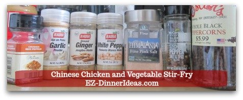 Chicken Stir-Fry Recipe | Chinese Chicken and Vegetable Stir-Fry - All the spices you need for the chicken marinade.
