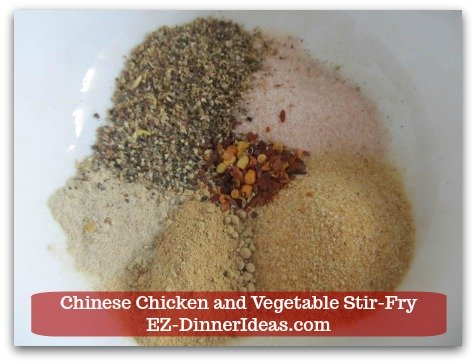 Chicken Stir-Fry Recipe | Chinese Chicken and Vegetable Stir-Fry - Combine seasoning in a bowl.