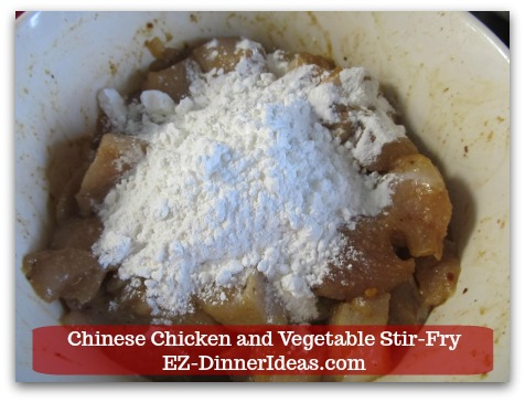 Chicken Stir-Fry Recipe | Chinese Chicken and Vegetable Stir-Fry - Add flour and corn starch.