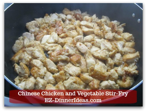 Chicken Stir-Fry Recipe | Chinese Chicken and Vegetable Stir-Fry - Cook chicken until all sides are golden brown.