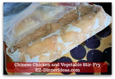 Chicken Stir-Fry Recipe | Chinese Chicken and Vegetable Stir-Fry - Marinated and frozen chicken in a ziplock bag which got almost all air squeezed out to avoid freezer burn.
