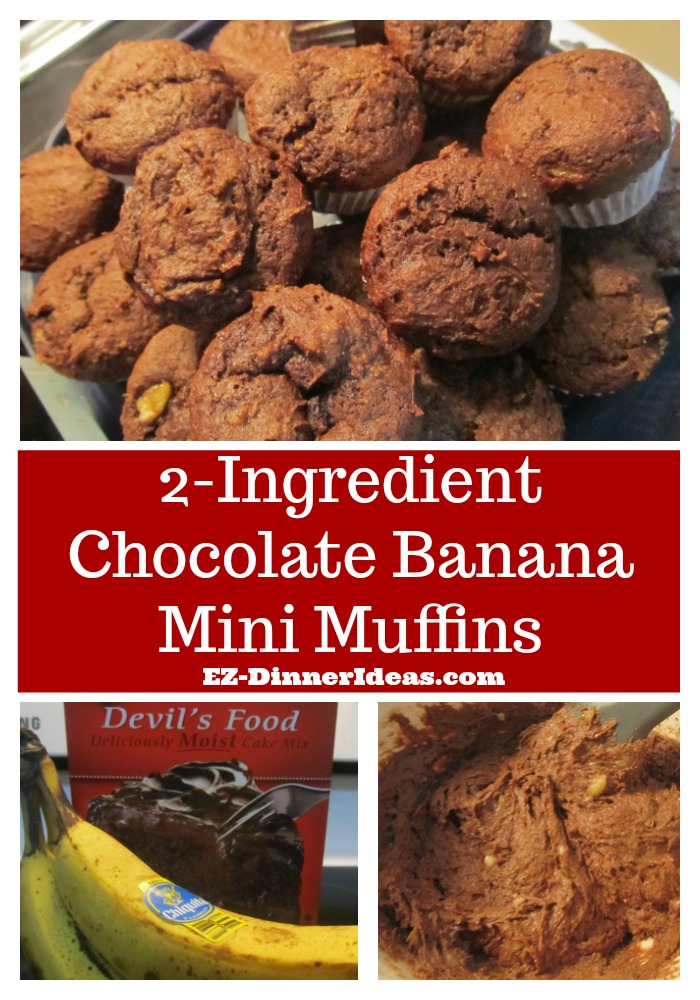 2-Ingredient Chocolate Banana Mini Muffins