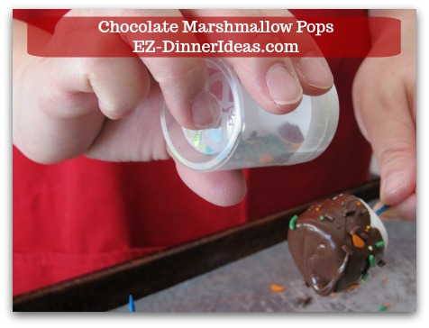 Chocolate Marshmallow Recipe | Chocolate Marshmallow Pops - Use a shaker to add sprinkles on top.