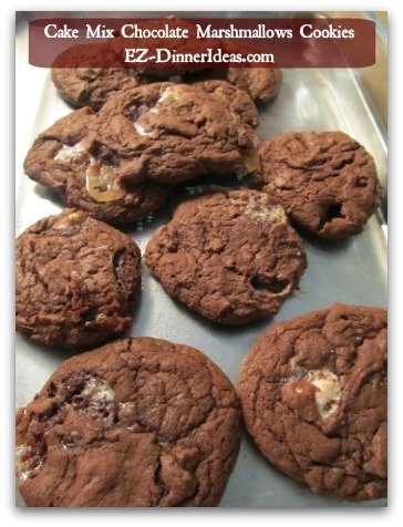 Cake Mix Cookies Easy | Chocolate Marshmallow Cookies - As soon as the cookies are out of the oven, slide the whole tray together with the parchment paper on a cool surface.  ENJOY!