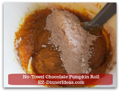 Chocolate Cake Roll | No-Towel Chocolate Pumpkin Roll - Add dry ingredient mixture into the wet one.