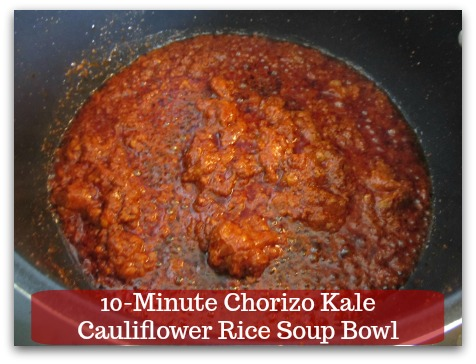 Sausage Kale Soup Recipe | 10-Minute Chorizo Kale Cauliflower Rice Soup Bowl - Break sausage into small pieces, about 3 minutes.