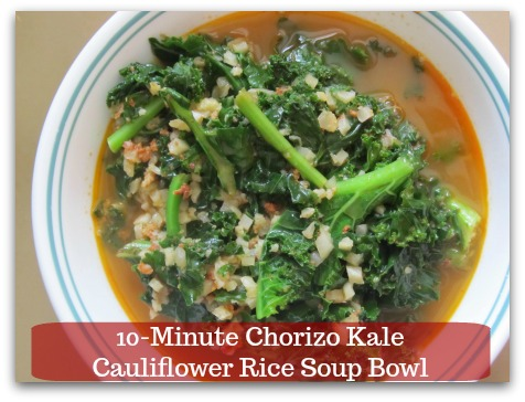 Sausage Kale Soup Recipe | 10-Minute Chorizo Kale Cauliflower Rice Soup Bowl - 4 ingredients and NO prep time for a flavorful pot of soup.  MUST try.