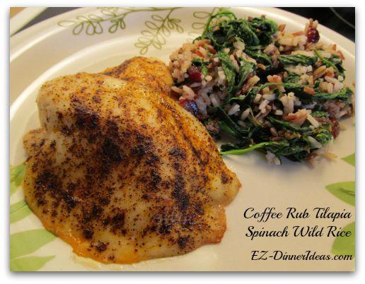 Coffee Rub Tilapia with Spinach Wild Rice
