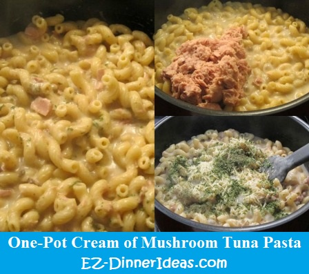 One-Pot Cream Of Mushroom Tuna Pasta, homemade dinner can be this easy.