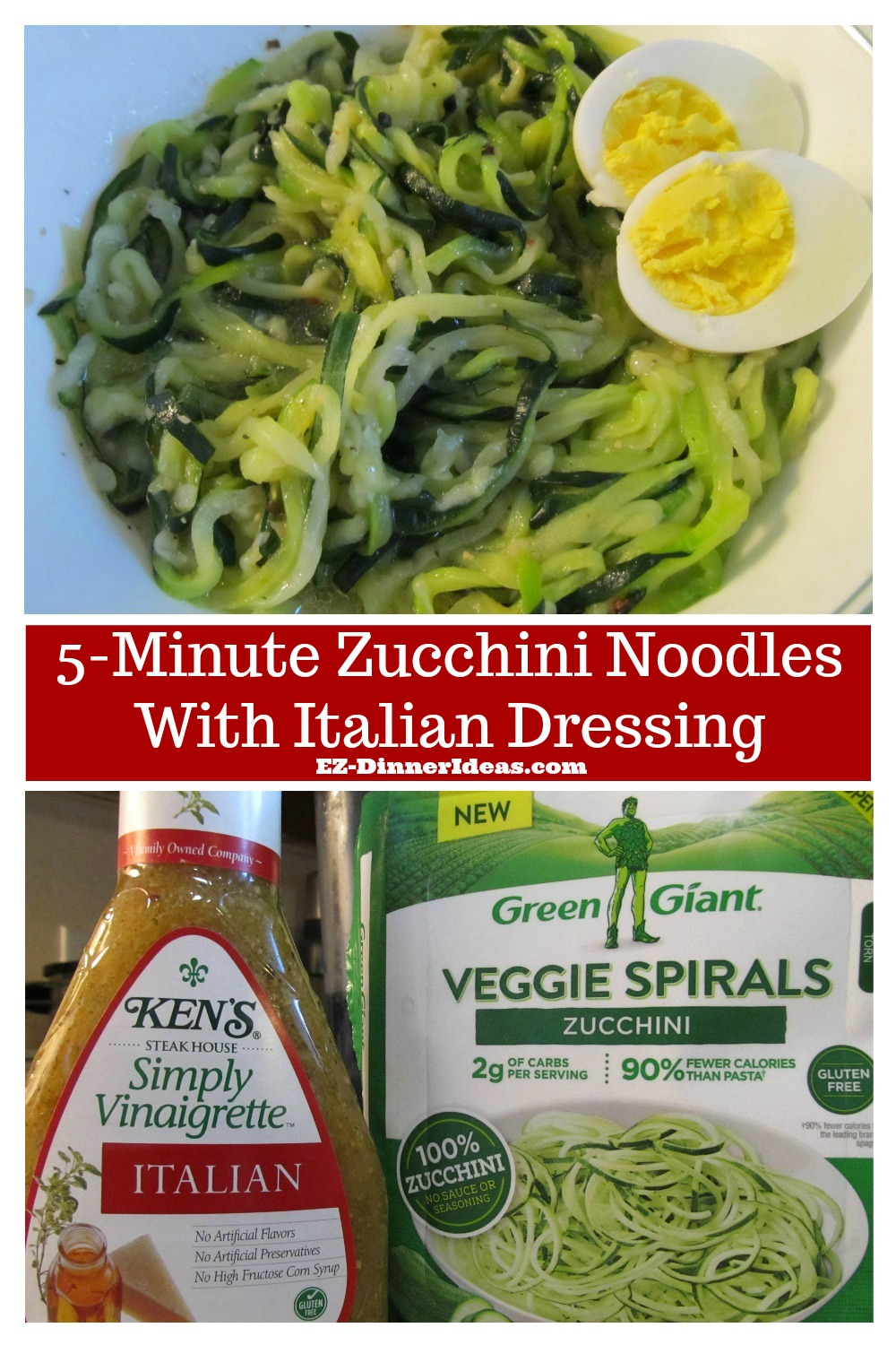 Cooking for two with 2 ingredients and make a healthy meal.  This 5-minute zucchini noodles with Italian dressing is a MUST try.