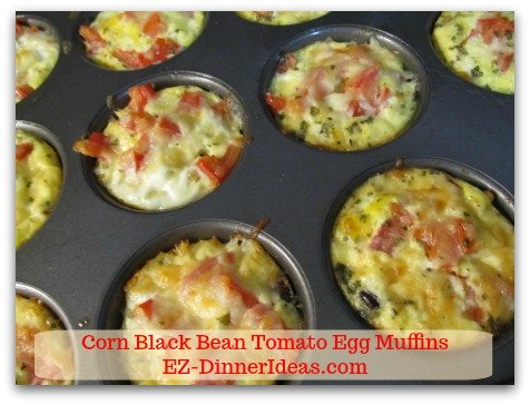 Corn Black Bean Tomato Egg Muffins - Bake in 375F oven and enjoy!