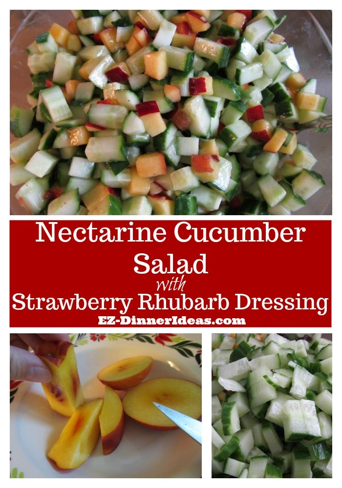 Nectarine salad uses ingredients during the season.  It is affordable, refreshing and super easy to make.  It's a great summer salad for a cookout.