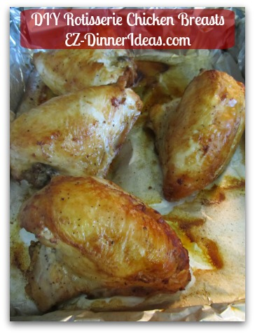 Homemade Rotisserie Chicken Recipe - Let chicken cool to touch.  Discard skin and shred meat for use later.