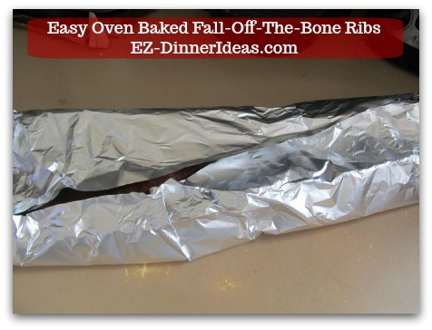 Baby Back Pork Ribs Recipe | Easy Oven Baked Fall-Off-The-Bone Ribs - See that little gap where it is not covered with aluminum foil?