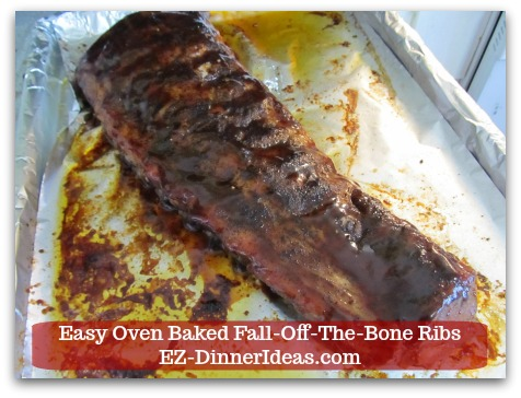 Baby Back Pork Ribs Recipe | Easy Oven Baked Fall-Off-The-Bone Ribs - After 3-3.5 hours later, meat is falling off the bone.  Uncover the meat.
