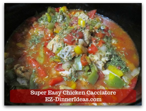 Italian Chicken Dinner Recipe | Super Easy Chicken Cacciatore - Salt and pepper to taste; discard bay leaves and serve immediately.