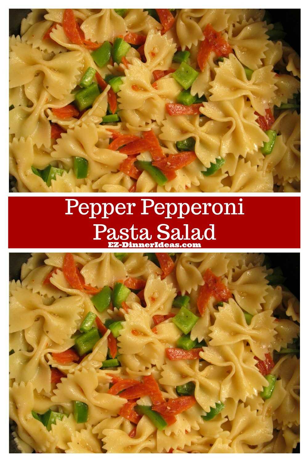 An easy salad meal is great for any occasions.  You can serve this pepper pepperoni pasta salad in a dinner party or even on the road if you are always on the run from one place to another.