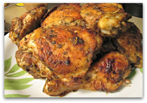 Easy way to cook chicken, make it delicious and use up things in your kitchen that you want to get rid of.  This Everything-in-Your-Spice-Rack chicken is THE one.