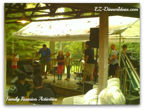 Family Reunion Activities - Local band performance with the youngest generation in the family to sing along