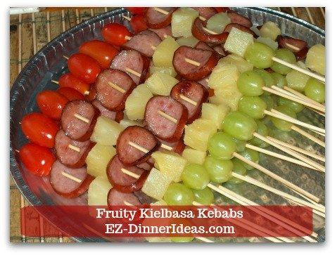 A fun finger food recipe must be fun to make and fun to eat.  These fruity kielbasa kebabs fulfill every requirement you ask for.