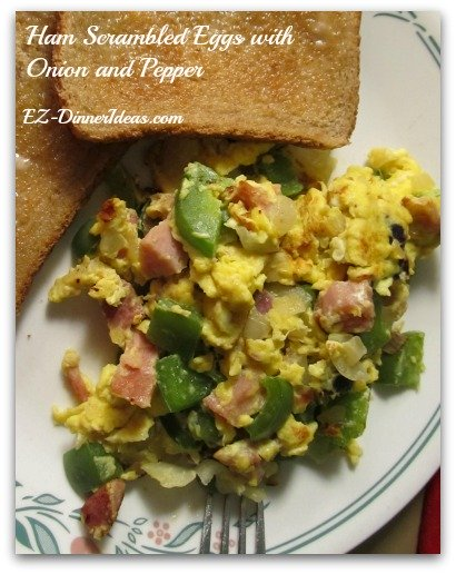 Ham Scrambled Eggs with Onion and Pepper - This is a great breakfast recipe for two or family.