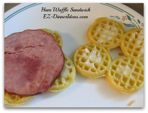 Waffle Recipe | Ham Waffle Sandwich - Butter one side of each waffle and put a slice of ham between the buttered sides.