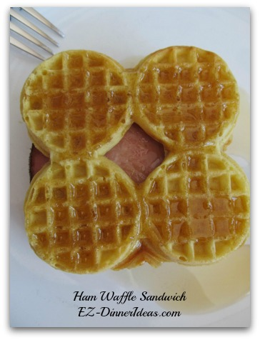 Waffle Recipe | Ham Waffle Sandwich - You can cut up this sandwich to mini sandwiches and serve as snack or finger food.  To prevent the mini sandwiches to become soggy, serve the syrup on the side