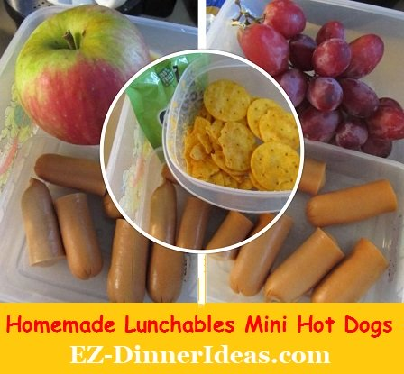 Homemade Lunchables Mini Hot Dogs, cheaper, healthier and best of all...make several packs and have a picnic lunch date with your little ones.