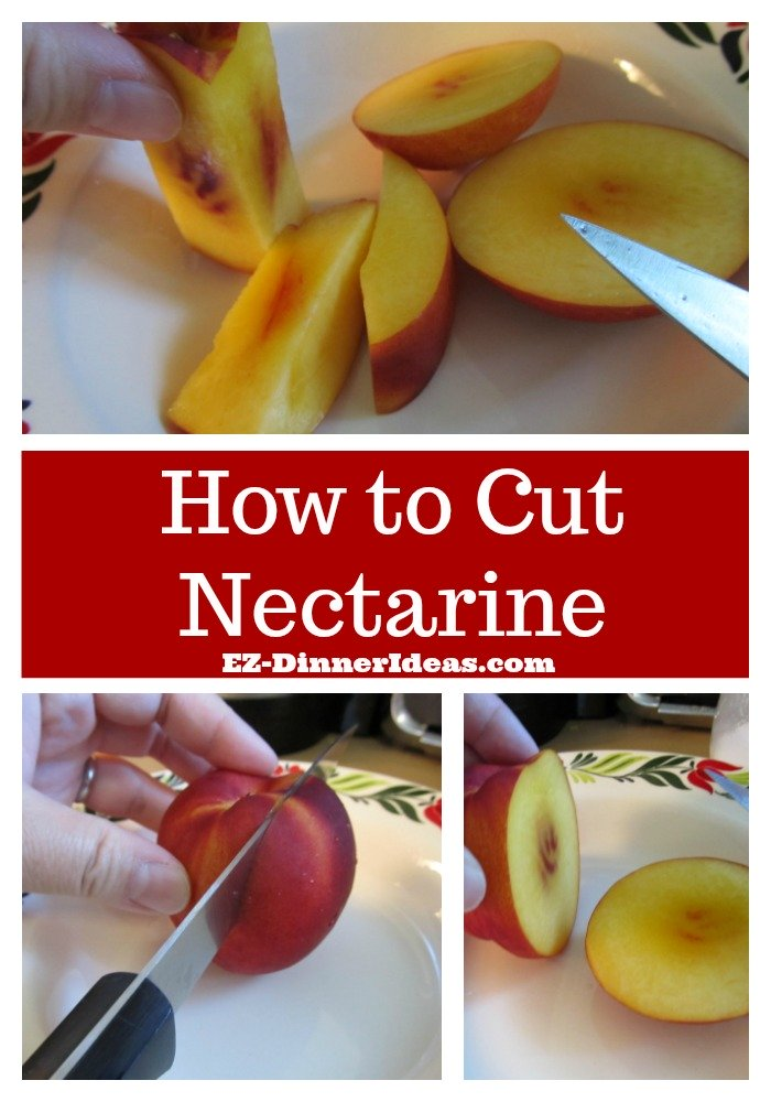 Nectarine Salad with Cucumber and Strawberry Rhubarb Dressing - The best and most efficient way to cut a nectarine.