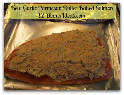 Keto Garlic Parmesan Butter Baked Salmon - Feel free to add a bit of breadcrumb on top after spreading the topping