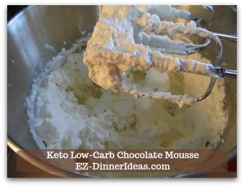 Keto Low-Carb Chocolate Mousse - In a big mixing bowl, combine heavy cream, 1/4 cup Truvia and vanilla extract and beat mixture with a hand mixer