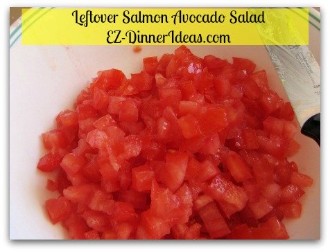 Quick and Easy No-Cook | Salmon Avocado Salad - Seed and dice tomatoes.