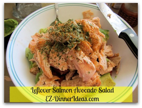 Quick and Easy No-Cook | Salmon Avocado Salad - Add salmon and seasoning.
