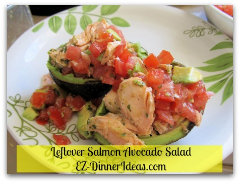 This quick and easy no-cook recipe makes healthy eating very manageable.  Assemble and dive in.  This salmon avocado salad can be any meal on any day.  It is beautiful and yummy.