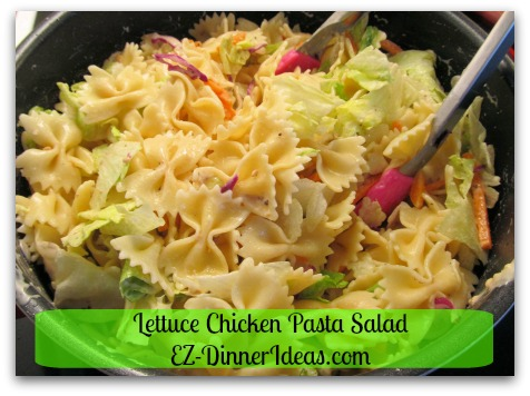 Lettuce Chicken Pasta Salad - Toss it with your favorite salad dressing
