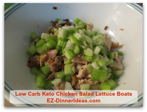 Low Carb Keto Chicken Salad Lettuce Boats - Cut celery about the same size as chicken