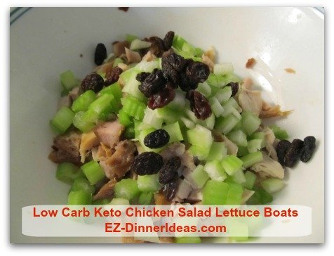 Low Carb Keto Chicken Salad Lettuce Boats - Add raisins or dried cranberries into the salad