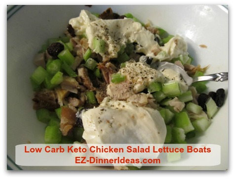 Low Carb Keto Chicken Salad Lettuce Boats - Add mayo, salt and pepper