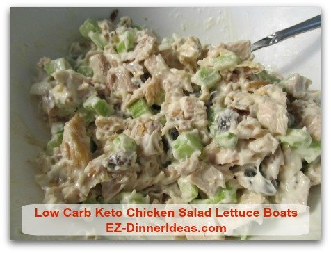 Low Carb Keto Chicken Salad Lettuce Boats - Chill salad in fridge for at least a couple hours for better flavor.  Otherwise, you still can serve it immediately