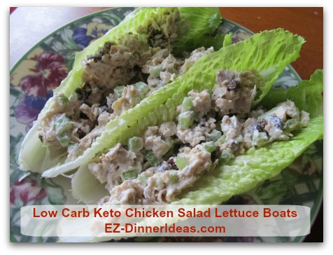 Low Carb Keto Chicken Salad Lettuce Boats - Pack the salad and lettuce separately, it is an awesome and healthy lunch.