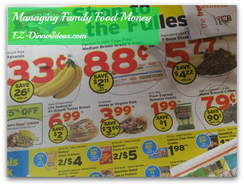 Managing family food money - circle those are the real on sale items by comparing the prices from stores in your area.  Fold the corner to help reminding you which page you should refer to.