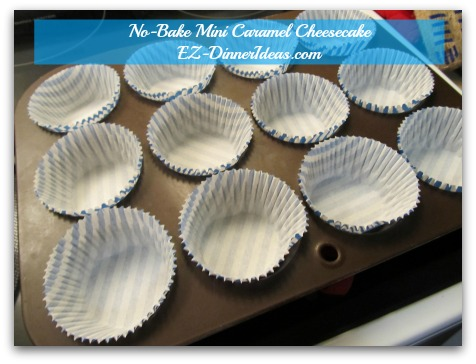 No-Bake Mini Caramel Cheesecake - Cheesecake filling will perfectly fill 12 liners
