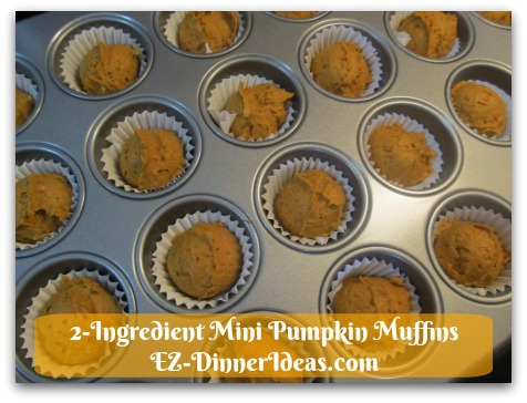 Recipe Using Spice Cake Mix   2-Ingredient Mini Pumpkin Muffins - Bake for 12-17 minutes until toothpick insert into the middle and comes out clean.