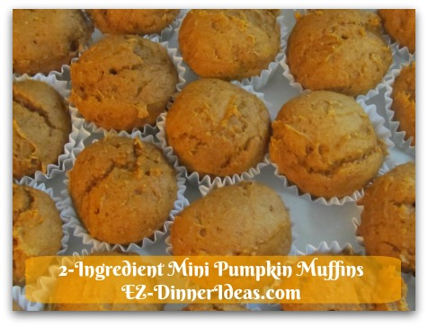 Recipe Using Spice Cake Mix   2-Ingredient Mini Pumpkin Muffins - Let mini muffins cool at room temperature for 5 minutes before transferring to a serving plate and enjoy immediately.