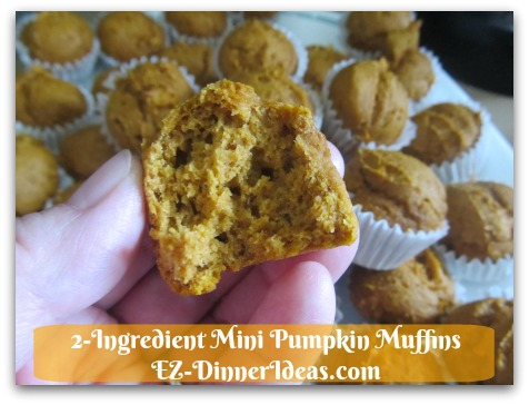 Recipe Using Spice Cake Mix | 2-Ingredient Mini Pumpkin Muffins - Look at how moist these cuties are.