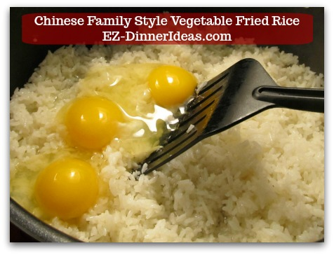 Mixed Vegetable Fried Rice | Chinese Family Style Vegetable Fried Rice - Add eggs into hot cooked rice